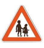 Sinal de aviso branco vermelho das crianças ilustração royalty free