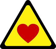 Sinal de aviso com amor ilustração royalty free