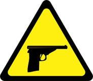 Sinal de aviso com arma ilustração do vetor