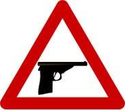 Sinal de aviso com arma ilustração stock