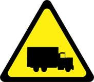 Sinal de aviso com caminhão ilustração stock