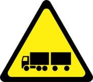 Sinal de aviso com caminhão ilustração royalty free