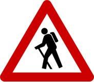 Sinal de aviso com caminhante ilustração stock