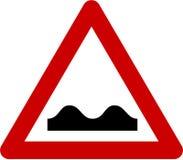 Sinal de aviso com colisões da estrada ilustração stock