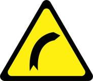 Sinal de aviso com curvatura direita ilustração do vetor