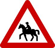 Sinal de aviso com equitação ilustração do vetor