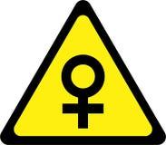 Sinal de aviso com fêmea ilustração stock