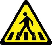 Sinal de aviso com faixa de travessia ilustração royalty free