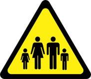 Sinal de aviso com família ilustração stock