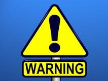 Sinal de aviso com fundo azul Fotos de Stock