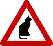 Sinal de aviso com gato ilustração stock