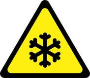 Sinal de aviso com gelo ilustração stock
