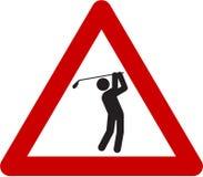 Sinal de aviso com jogadores de golfe ilustração royalty free