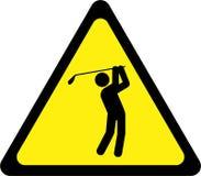 Sinal de aviso com jogadores de golfe ilustração do vetor