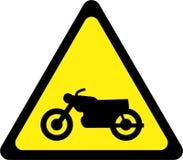 Sinal de aviso com motocycle ilustração royalty free