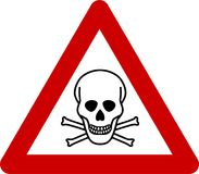 Sinal de aviso com perigo mortal ilustração stock