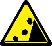 Sinal de aviso com rochas de queda ilustração do vetor