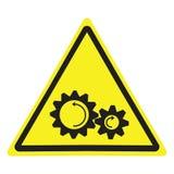 Sinal de aviso com símbolo do perigo das peças de gerencio ilustração do vetor