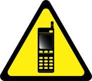 Sinal de aviso com telefone celular ilustração royalty free