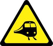 Sinal de aviso com trem ilustração stock