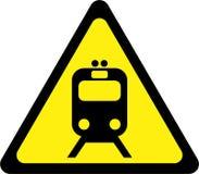 Sinal de aviso com trem ilustração do vetor