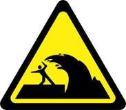 Sinal de aviso com tsunami ilustração stock