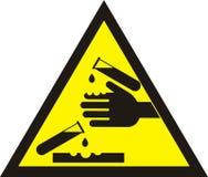 Sinal de aviso corrosivo Fotos de Stock