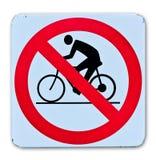 Sinal de aviso da bicicleta de Phohibition Imagem de Stock