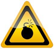 Sinal de aviso da bomba ilustração stock