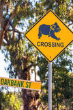 Sinal de aviso da coala perto de Narrandera imagem de stock