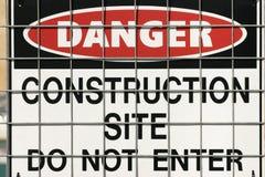 Sinal de aviso da construção Foto de Stock Royalty Free