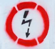 Sinal de aviso da eletricidade Fotografia de Stock Royalty Free