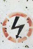 Sinal de aviso da eletricidade Foto de Stock Royalty Free