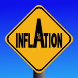 Sinal de aviso da inflação Foto de Stock Royalty Free