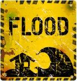 Sinal de aviso da inundação, Foto de Stock Royalty Free