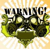 Sinal de aviso da máscara de gás ilustração do vetor