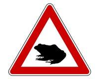 Sinal de aviso da migração do sapo ilustração stock