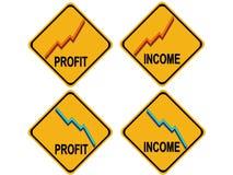 Sinal de aviso de aumentação da renda de queda dos lucros ilustração royalty free