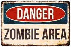 Sinal de aviso de Dia das Bruxas Perigo, área do zombi Vector a ilustração, EPS10 Foto de Stock Royalty Free