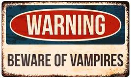 Sinal de aviso de Dia das Bruxas Ter cuidado com vampiros Vector a ilustração, EPS10 Fotos de Stock