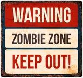 Sinal de aviso de Dia das Bruxas Ter cuidado com zombis Ilustração do vetor ilustração stock