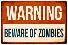 Sinal de aviso de Dia das Bruxas Ter cuidado com zombis Vector a ilustração, EPS10 Imagem de Stock Royalty Free