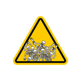 Sinal de aviso de pecadores da atenção Sinal amarelo dos perigos inoperante Ske Imagens de Stock Royalty Free