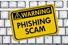 Sinal de aviso de Phishing Scam fotos de stock royalty free