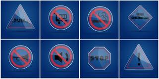 Sinal de aviso de vidro no fundo azul ilustração stock
