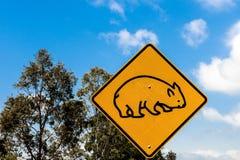 Sinal de aviso de Wombat fotografia de stock