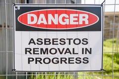 Sinal de aviso do asbesto Imagem de Stock Royalty Free