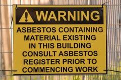 Sinal de aviso do asbesto Fotografia de Stock