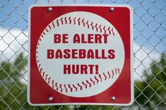 Sinal de aviso do basebol Imagem de Stock Royalty Free