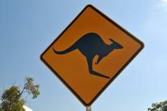 Sinal de aviso do canguru foto de stock